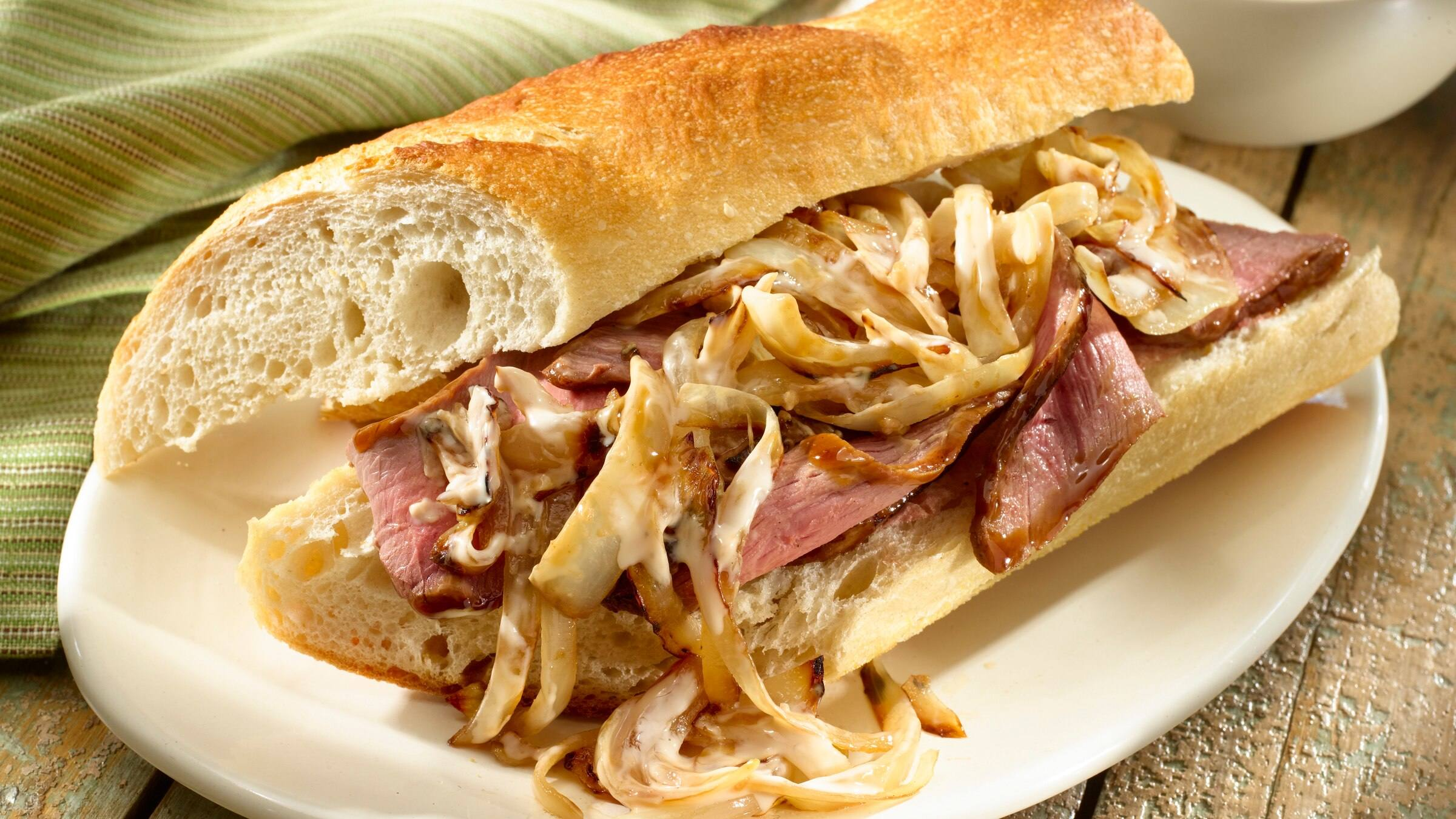 Caramelized Onion and Steak Sandwiches Recipe