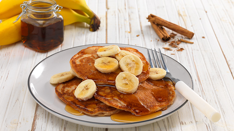 Gluten and Dairy Free Banana and Cinnamon Pancakes with Maple Syrup