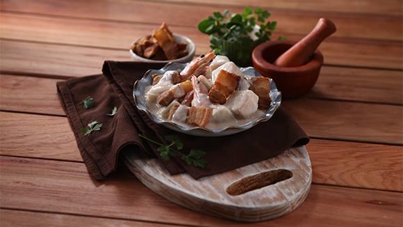 Lechon Kawali with Ubod in Gata Sauce Recipe