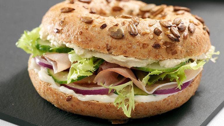 Ham and Houmous Bagel