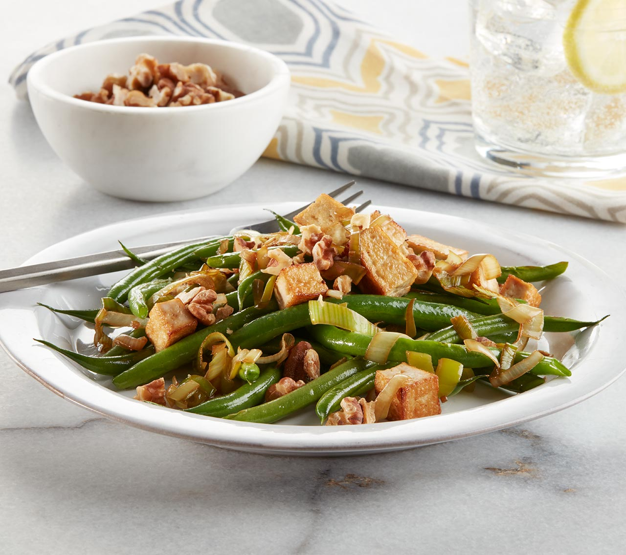 Vegan Garlic Soy Green Beans with Tofu