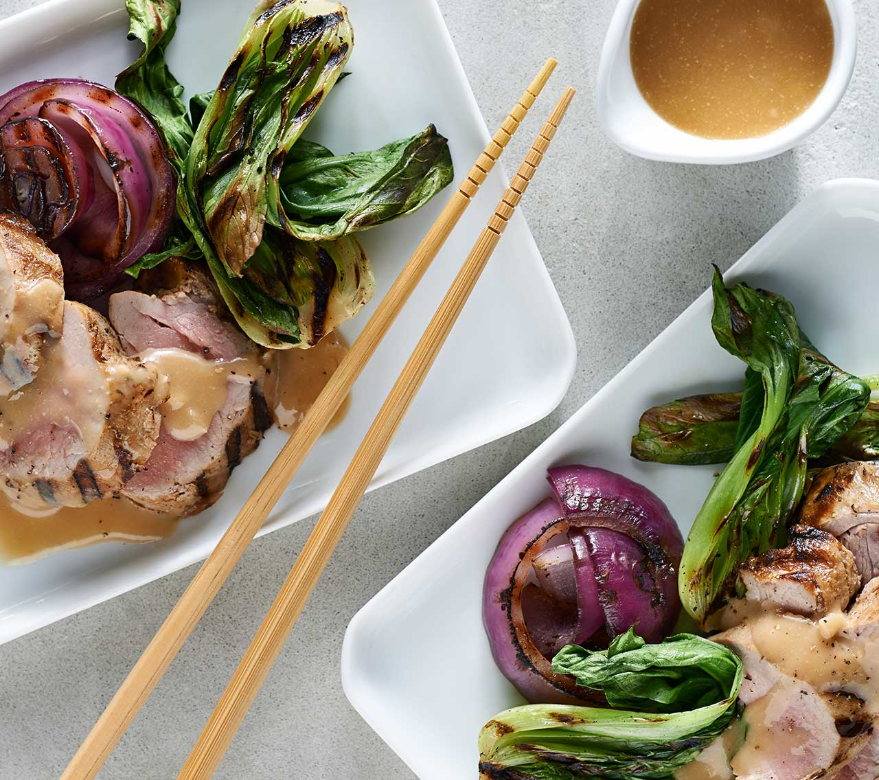 Miso-Maple Glazed Grilled Pork & Baby Bok Choy