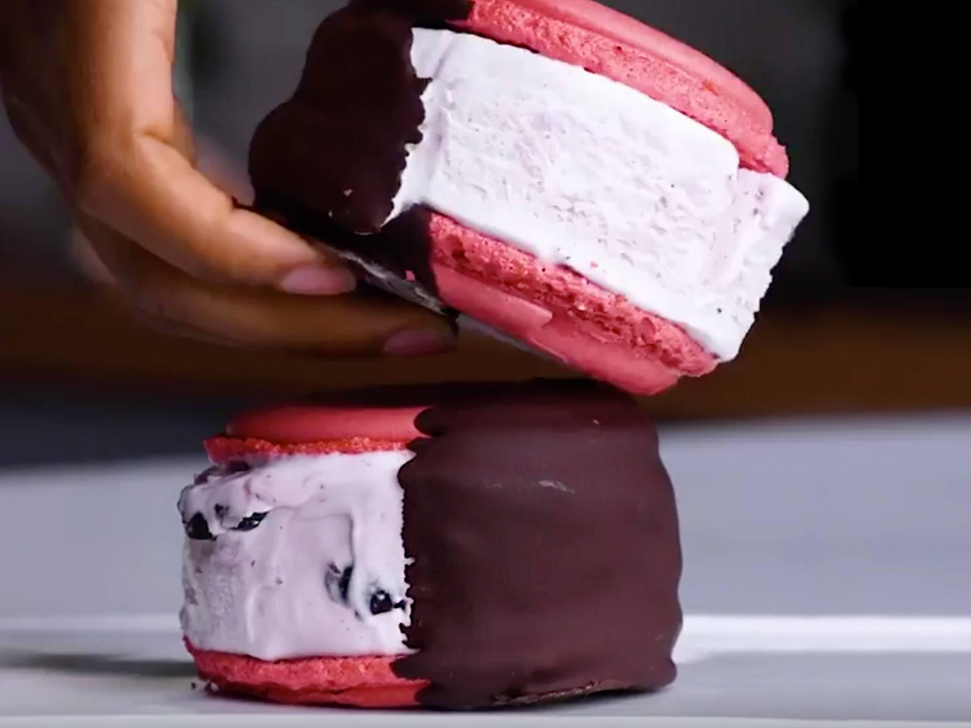 Cherry Vanilla Macaron Ice Cream Sandwich Recipe