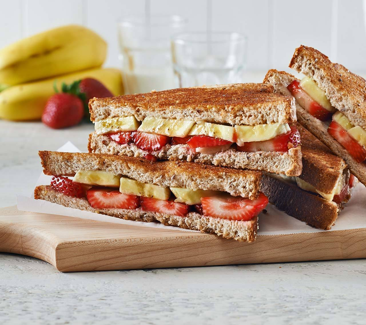 Breakfast Paninis with Banana & Berries