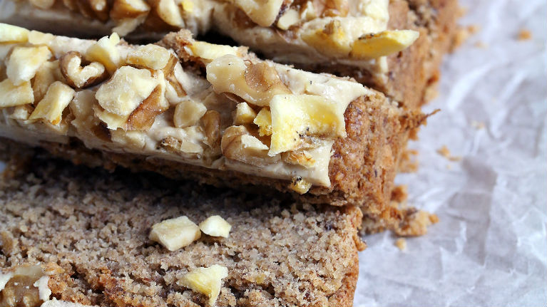 Banana bread with creamy walnut frosting