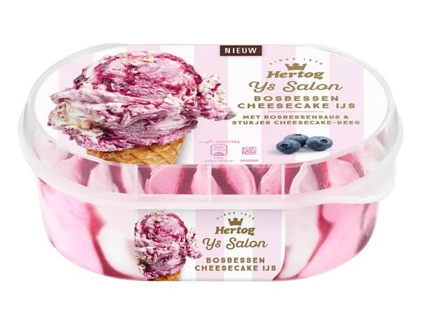 Hoe 'Bosbessen cheesecake ijs met blauwe bessen' bereiden.