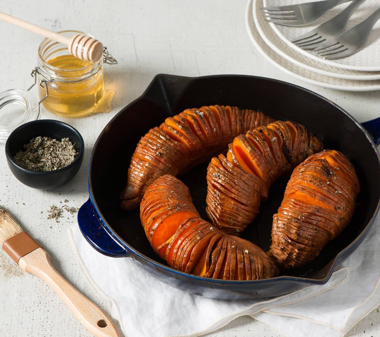 Patates douces sucrées-salées façon Hasselback