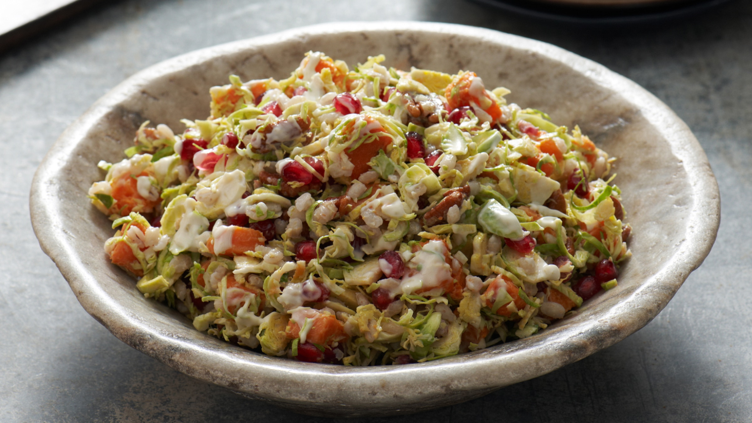 Shredded Brussels Sprout and Pomegranate Salad