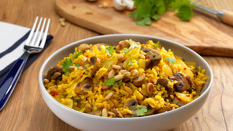 Nutty Mushroom and Coriander Pilaf