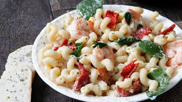 Four Cheese Pasta with Shrimp & Spinach