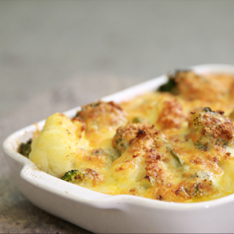 Cheesy Cauliflower Broccoli and Leek Bake