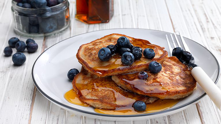 Banana Pancakes with Blueberries & Maple Syrup