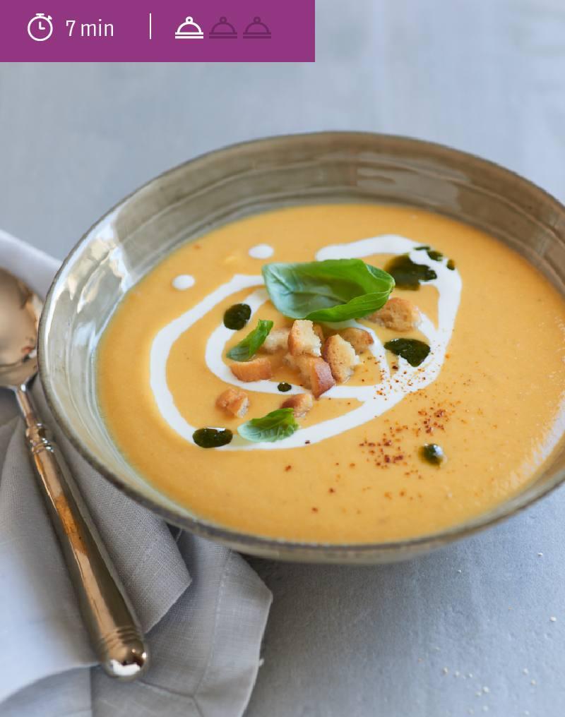 Crème de Butternut au curry et au thym
