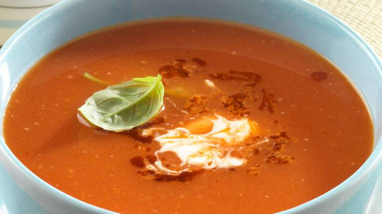 Tomato Soup with Red Pesto