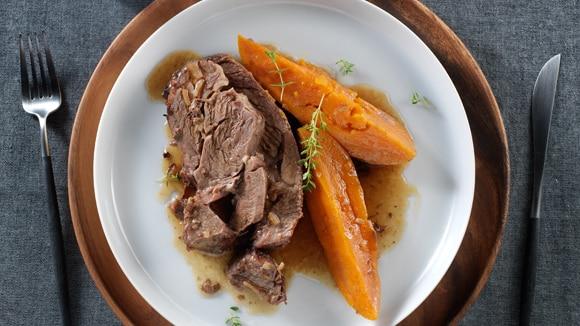 Slow Cooker Pot Roast with Sweet Potatoes