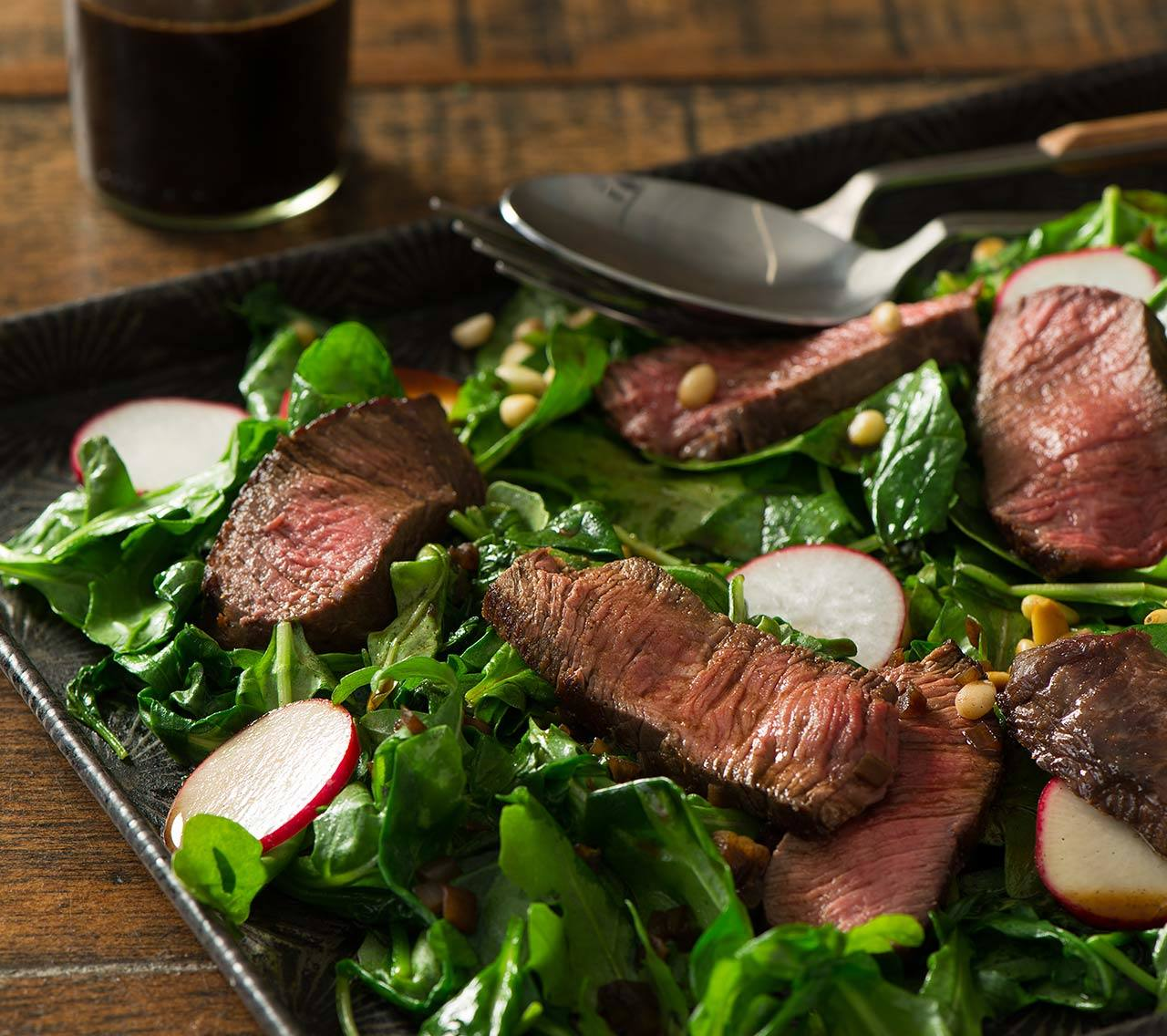 Pan-Seared Beef with Shallot Vinaigrette & Baby Spinach