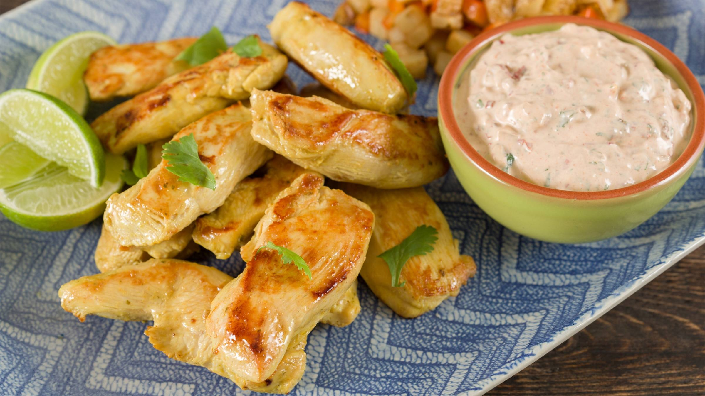 Lime Chicken Strips with Creamy Cilantro Dip