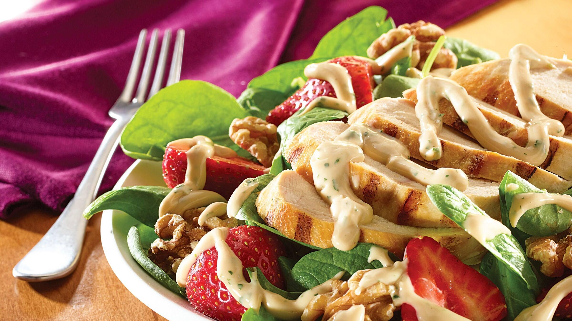 Creamy Balsamic Grilled Chicken Spinach Salad