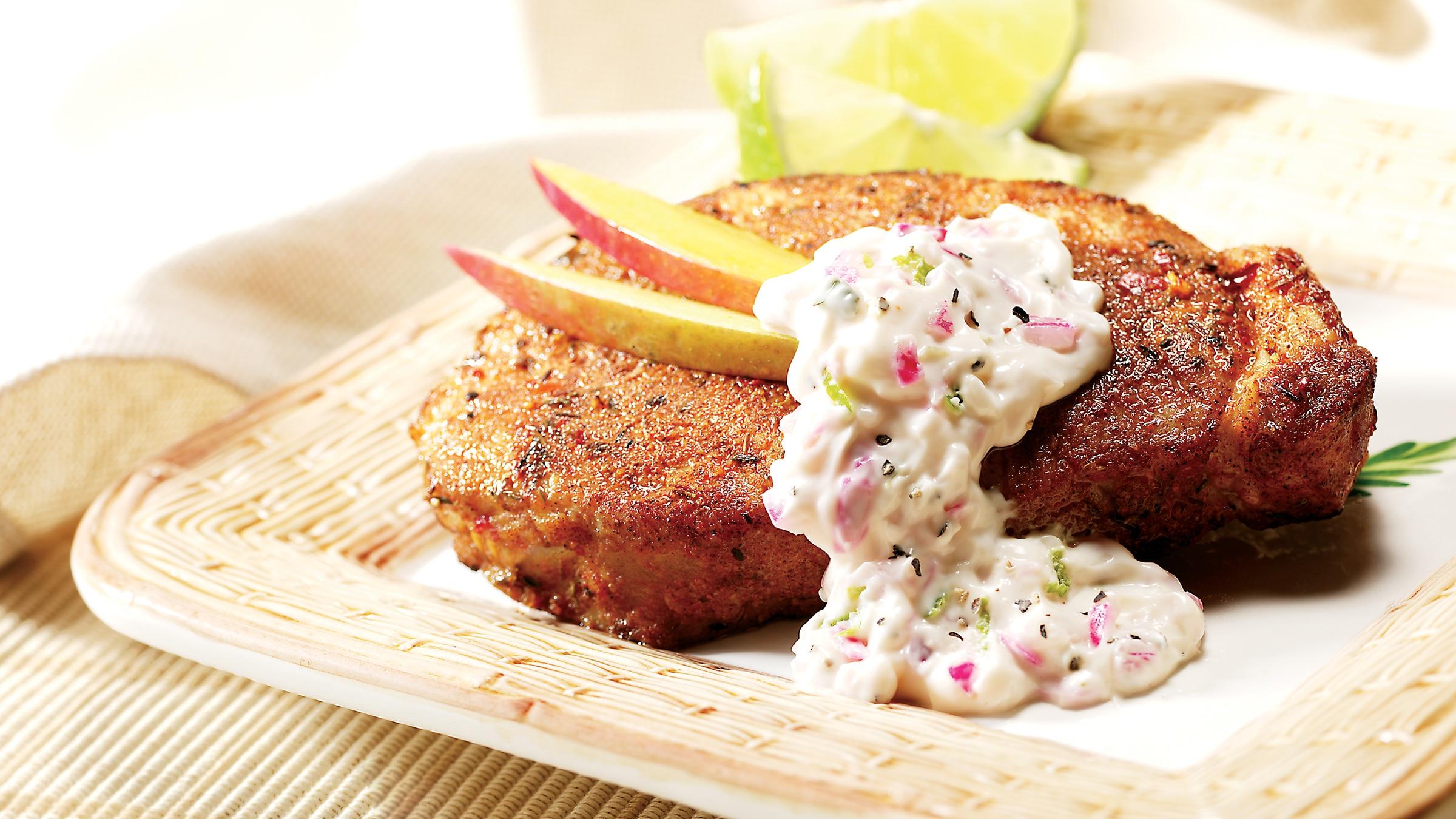 Pork Chops with Creamy Lime Salsa