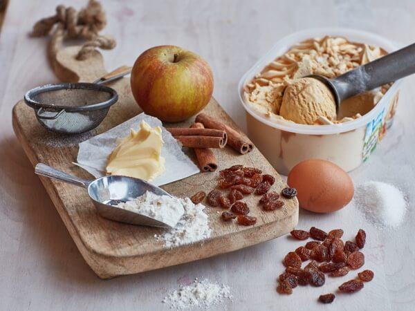 Hoe 'Appeltaart ijs met appeltaart cupcakes' bereiden.