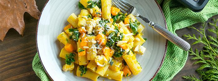 Andrea's Chicken, Kale & Pumpkin Pasta with Sage-Garlic Butter Sauce