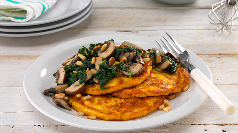 Gluten and Dairy Free Sweet Potato and Spinach Pancakes