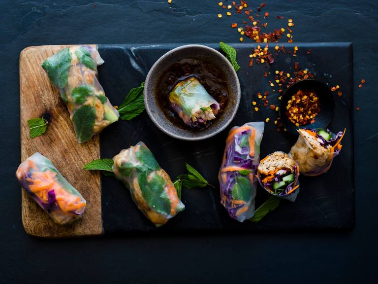 Ginger, Chilli & Garlic Barbecue Chicken Rice Paper Rolls