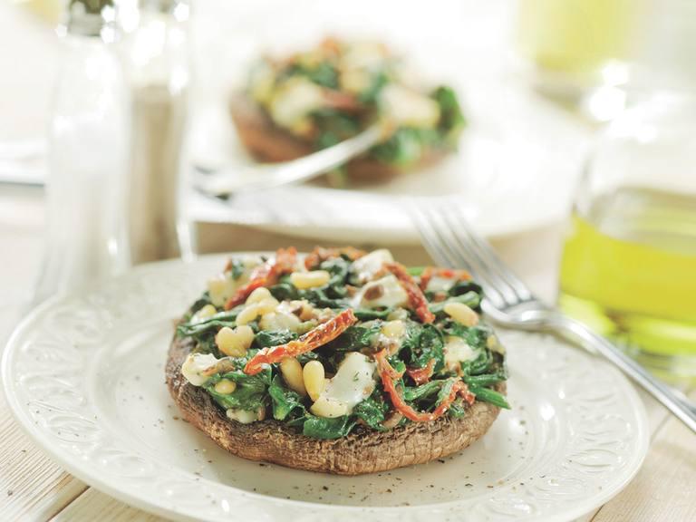 Portobello met geitenkaas en spinazie