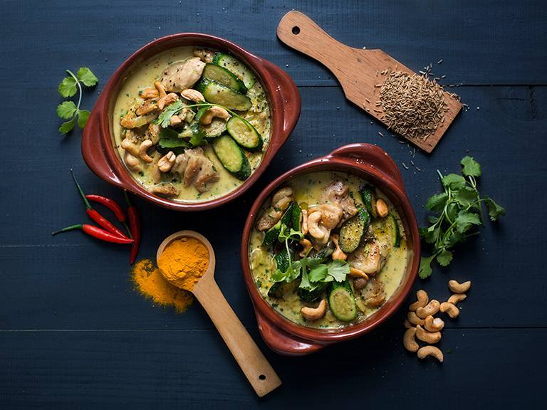 Creamy Coconut Chicken and Chickpea Curry with Cashews