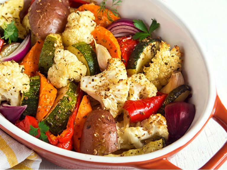 Simmered Cauliflower and Broccoli with Mediterranean Vegetables