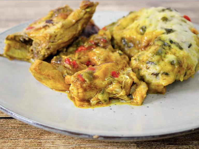 Chicken Stew With Spinach Dumplings