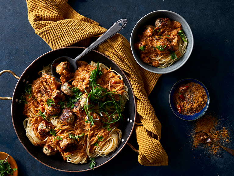 Spaghetti with Chicken Meatballs and Creamy Curry Sauce