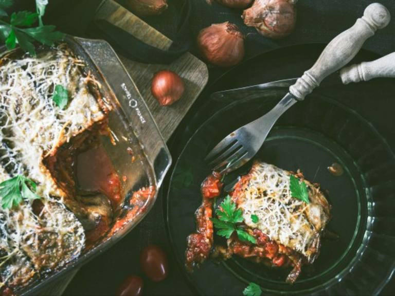 Oven baked aubergine recipe with Meat Balls