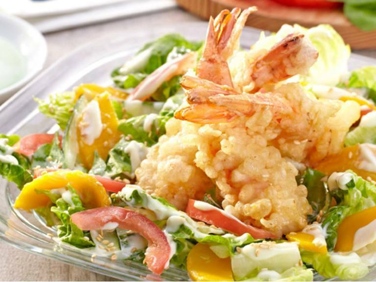 Tempura Salad With Wasabi-Mayo Dressing