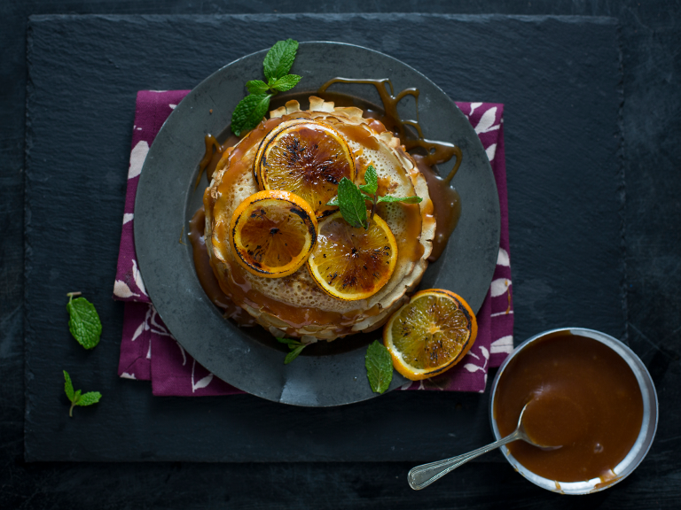 Pancakes With Roasted Oranges And Salted Caramel