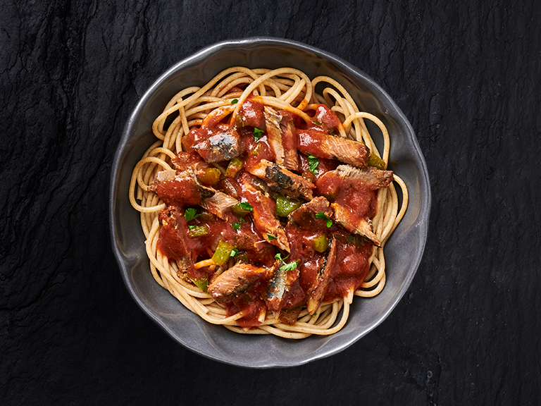 Saucy Pilchards with Spaghetti