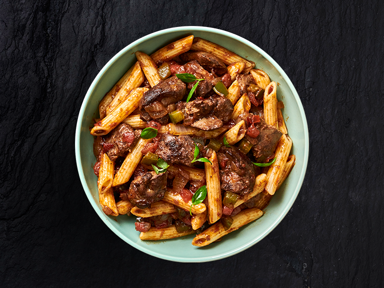 Saucy Chicken Livers with Penne Pasta