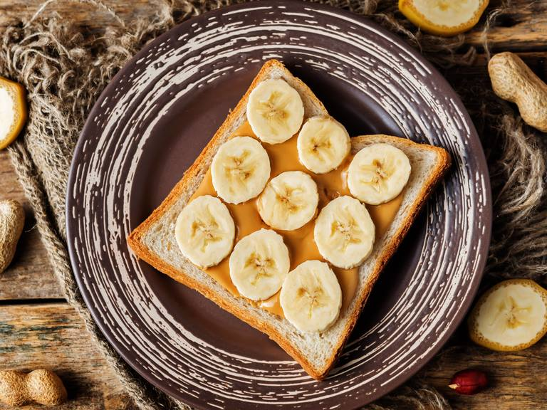 Caramelized Bananas with Peanut Butter on Toast