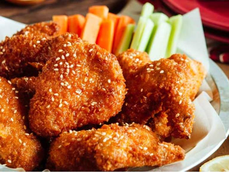 Spicy Buffalo Wings with Homemade Honey Mustard Dressing