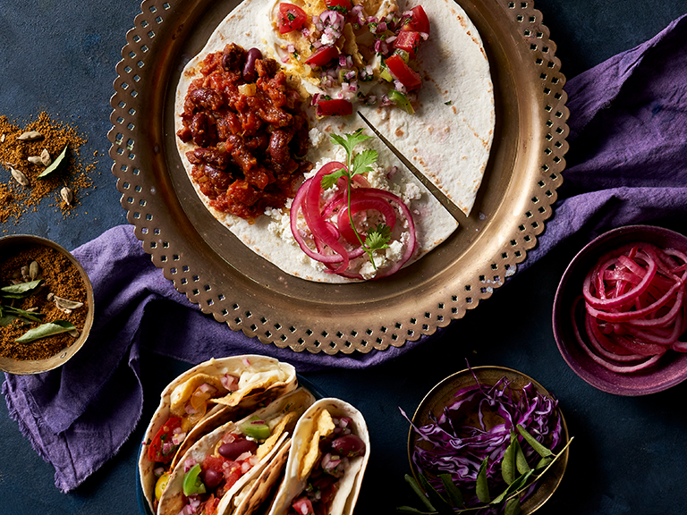 Spicy Bean and Feta ''Crunch-Wraps''