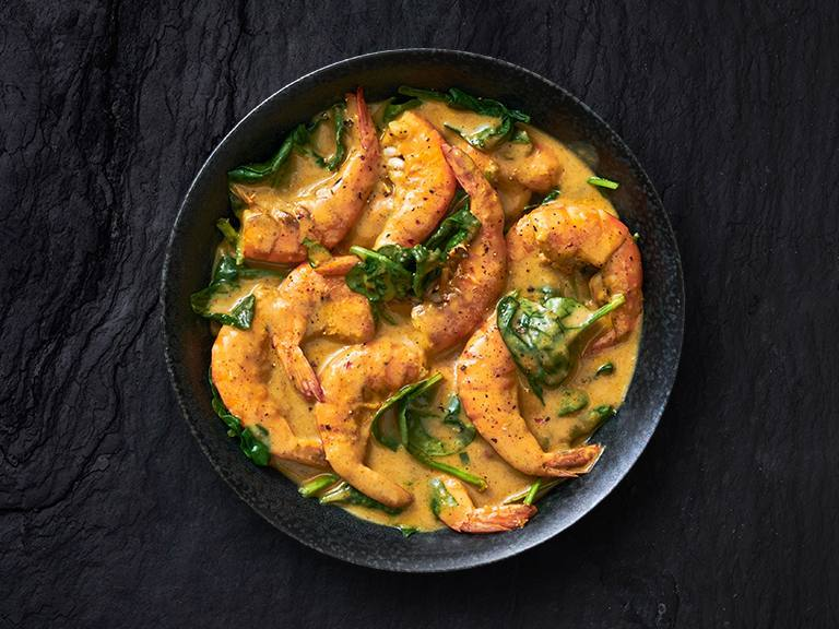 Creamy Coconut Prawns With Spinach