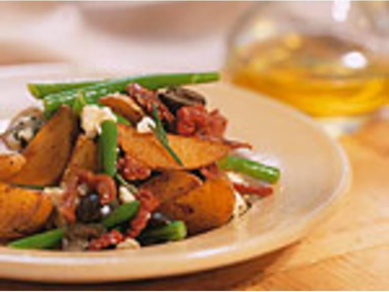 Patazola maaltijdsalade met gorgonzola en sperzieboontjes
