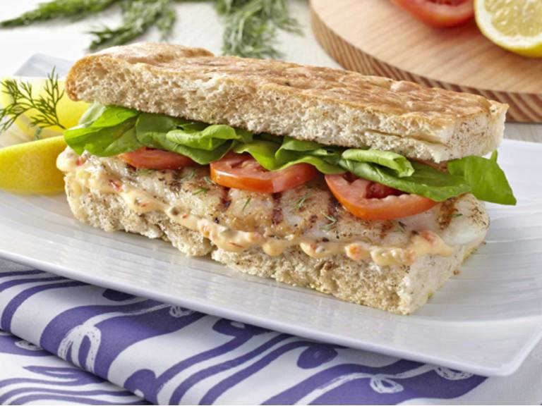 Grilled Fish and Dill Sandwich