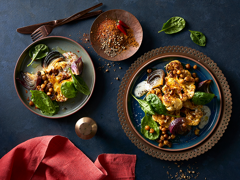 Curried Cauliflower Steaks, Chickpea and Baby Spinach Salad