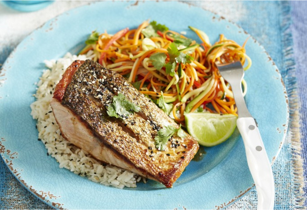 Pan-fried salmon with Asian slaw