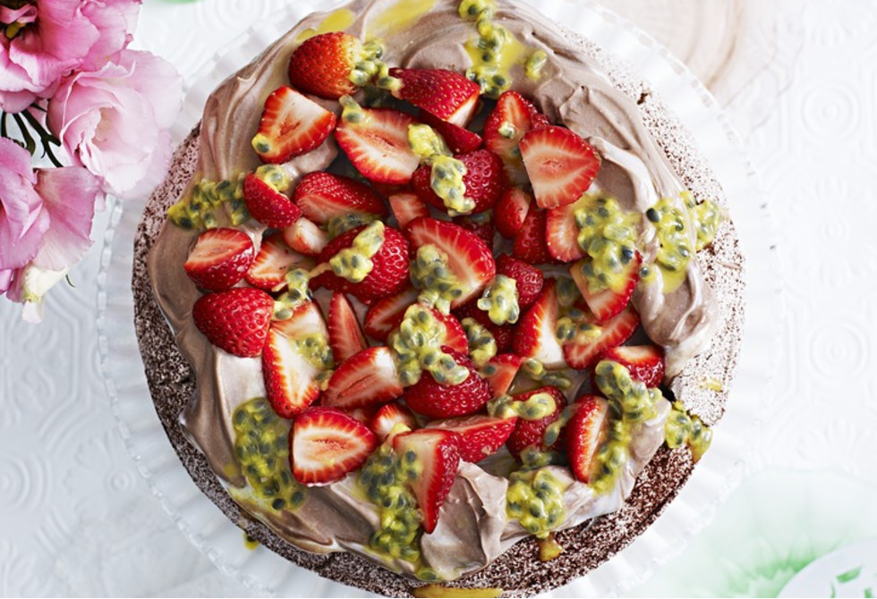 Double chocolate pavlova with strawberries and passionfruit