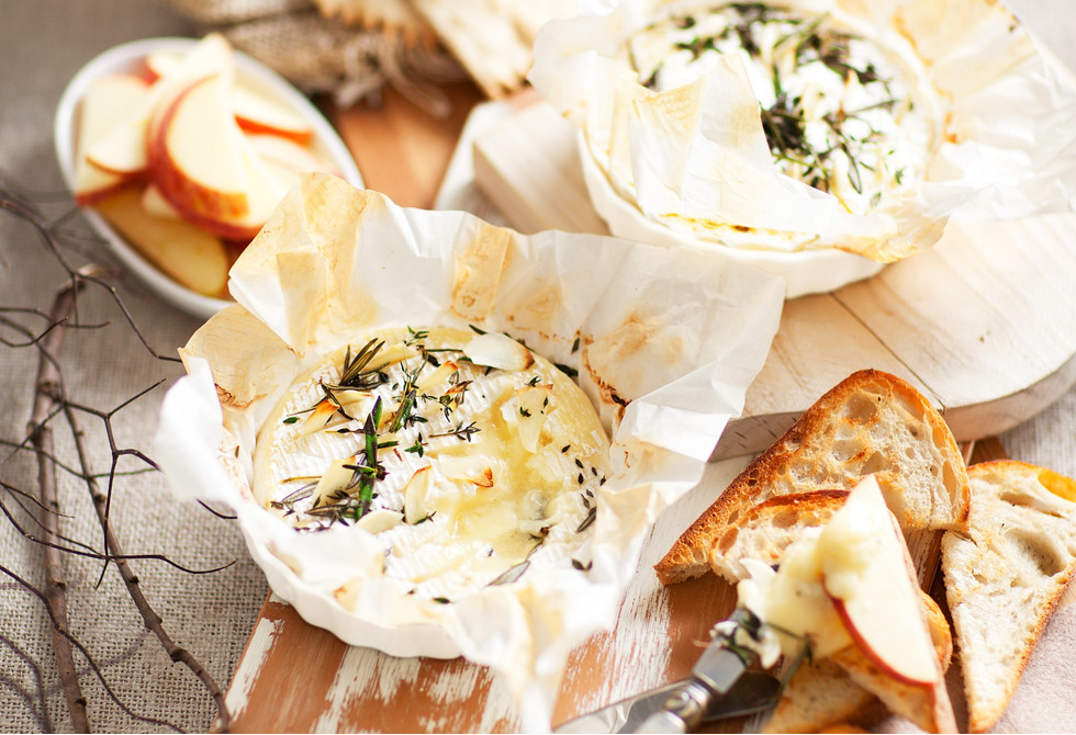 baked brie with garlic herbs wine recipe foodiful. Black Bedroom Furniture Sets. Home Design Ideas