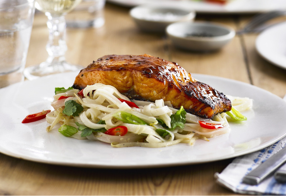 Grilled miso salmon with rice noodles