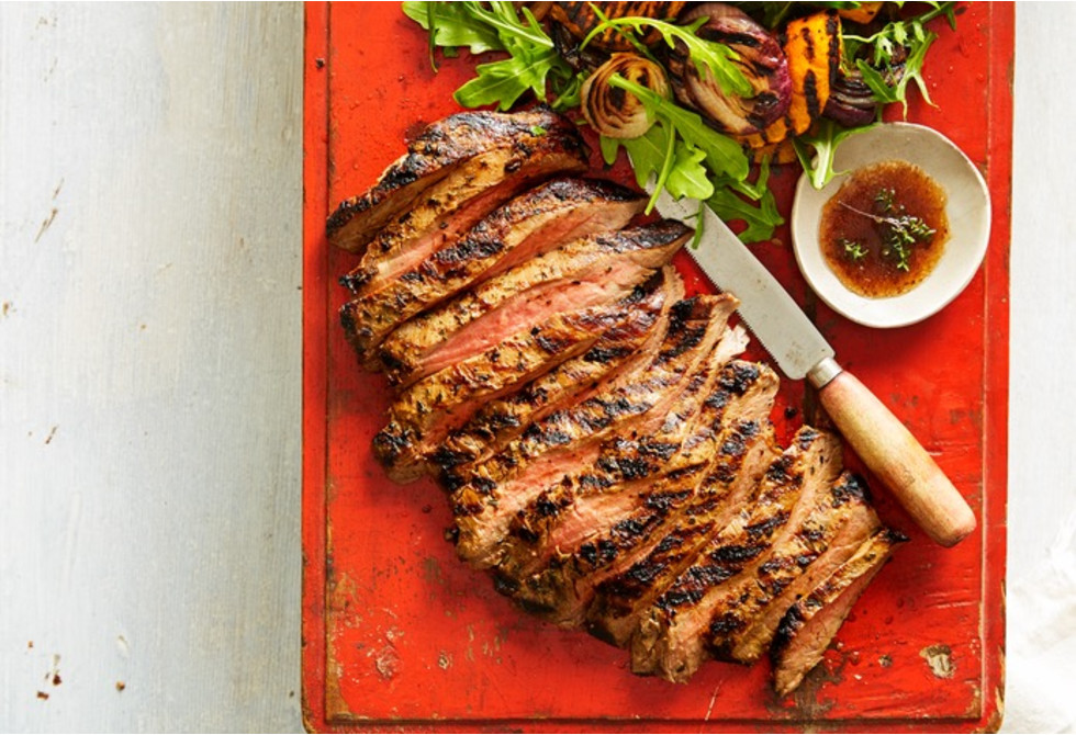 Grilled flank steak with vegetable salsa