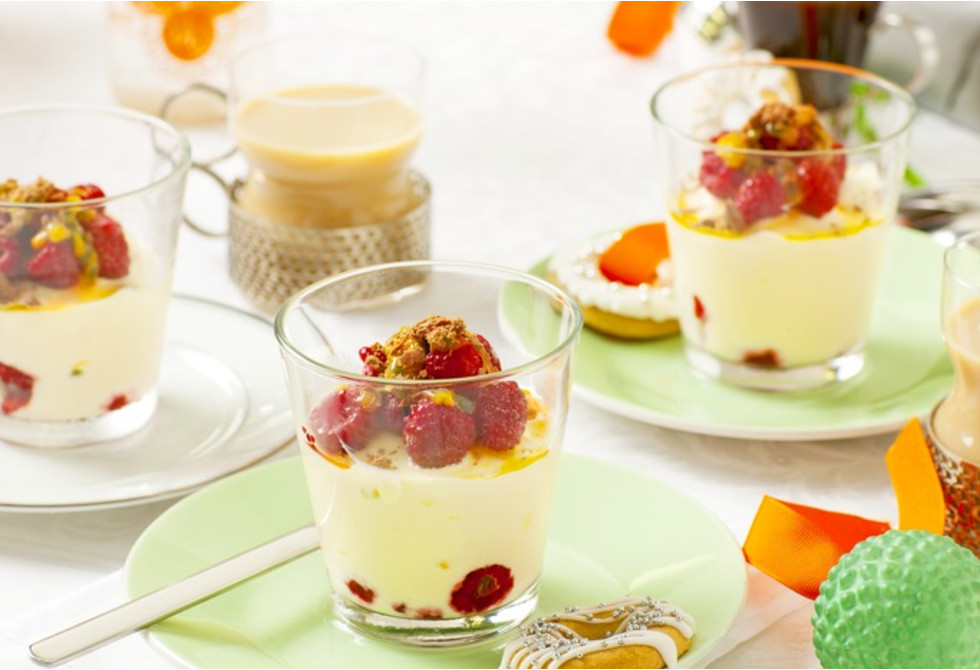 Raspberry & passionfruit parfaits